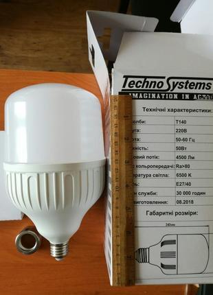 Лампа светодиодная LED Bulb-T140-50W-E27-E40-220V-6500K-4500