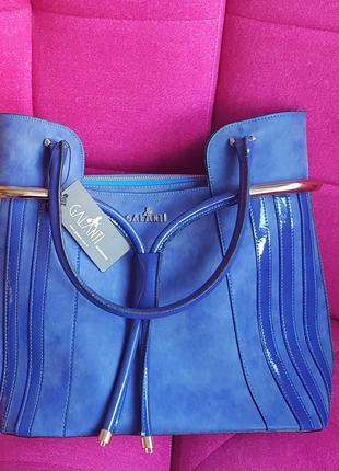 Синяя сумка под замш Турция