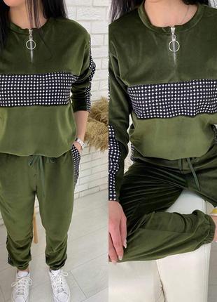 Шикарный велюровый костюм цвета хаки,топ продаж,цвета