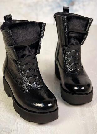 Натуральная кожа стильные лаковые осенние кожаные ботинки на э...