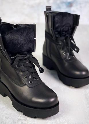 Натуральная кожа стильные кожаные осенние кожаные ботинки на э...