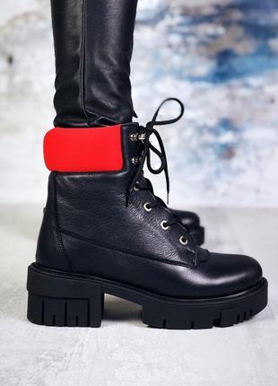 Натуральная кожа стильные осенние кожаные ботинки на грубой по...