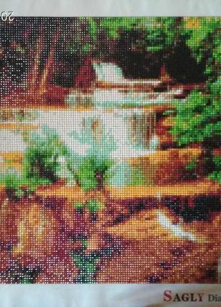 """""""Водопад""""Уже готовая алмазная вышивка (мозаика)40*30 см."""