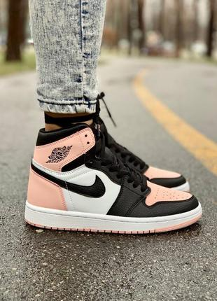 Nike air jordan 1 retro pink женские кожаные кроссовки розового