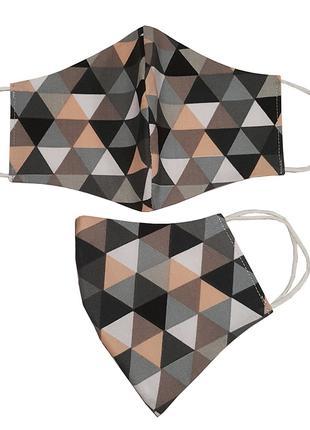 Маска для лица защитная Треугольники персиковые и серые