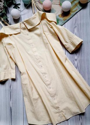 Желтое летнее платье рубашка atmosphere