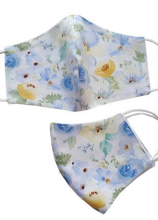 Маска для лица защитная Голубые цветы