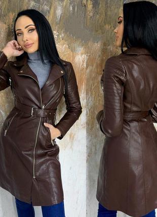 Женское пальто с эко-кожи