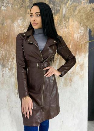 Женское пальто эко-кожа