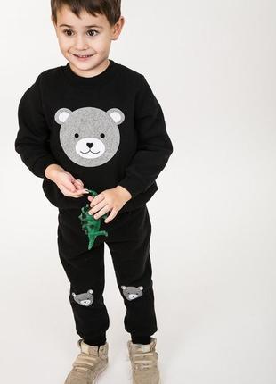 Трикотажный детский костюм свитшот штаны медвежонок