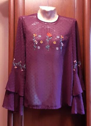 Шифоновая блузка с вышивкой цветами primark рукав-волан марсал...