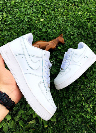 Кроссовки Nike Air Forse White leather,Black,Hight