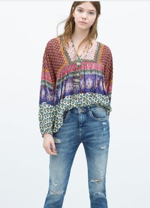 Легкая блузка в стиле бохо zara м--46-48 размер.