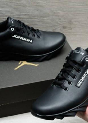 Мужские туфли кроссовки джордан натуральная кожа, 40-45 р. Чёрные