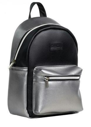 Женский рюкзак sambag talari msspn сочетание черного с металликом