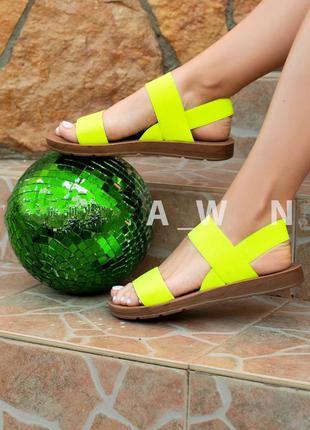 Лимонные желтые босоножки резинки тапки сандалии