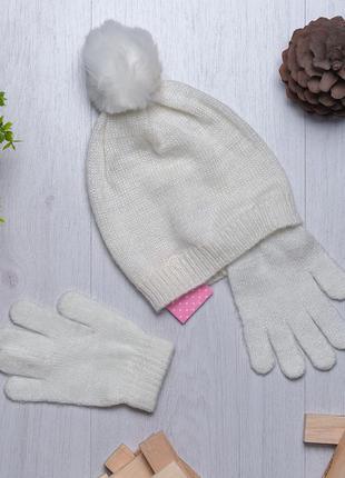 Стильный весенний набор шапка и перчатки для девочки piazza it...
