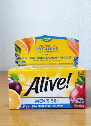 Мультивитамины для мужчин старше 50 лет (50+), Alive, Natures Way