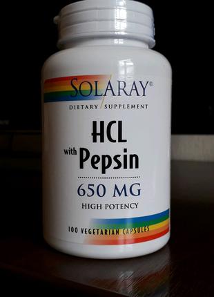 HCl with Pepsin. 650 мг, 100 капсул. Бетаин плюс пепсин. Solaray.