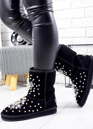 ❤ женские черные замшевые угги валенки луноходы ботинки сапоги...