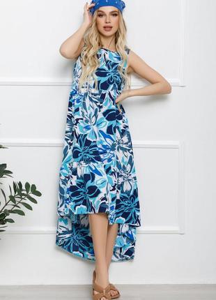 Сине-белое асимметричное платье с воланом ,макси в пол