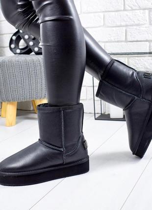 ❤ женские черные зимние низкие кожаные угги ugg ботинки сапоги...