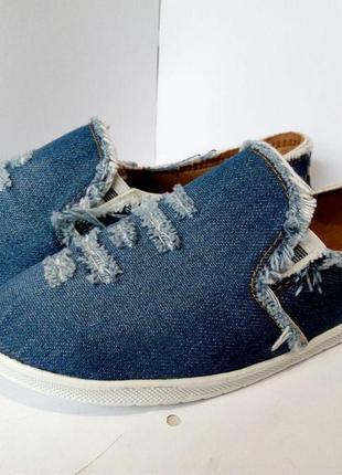 Женские мокасины  джинсовые кеды, кроссовки, текстильные, летн...