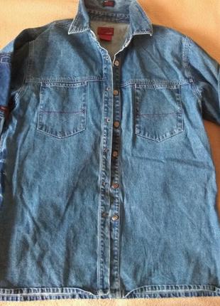Джинсовая дизайнерская рубашка L полукуртка Mecca USA