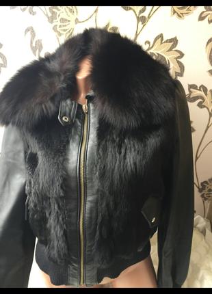 Bloom италия кожаная куртка утепленная