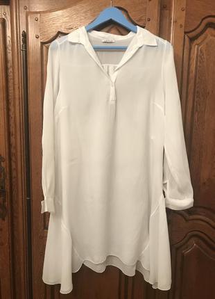Удлинённая шелковая рубашка-туника