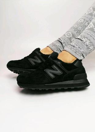 Шикарные женские зимние кроссовки new balance 574 winter black...