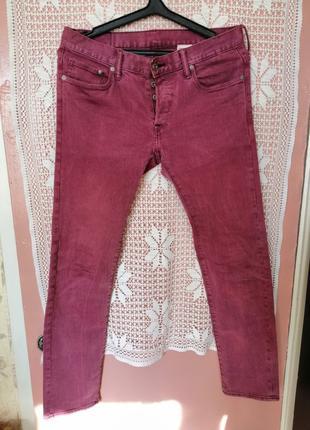 Мужские джинсы skinny H&M светло-бордового цвета