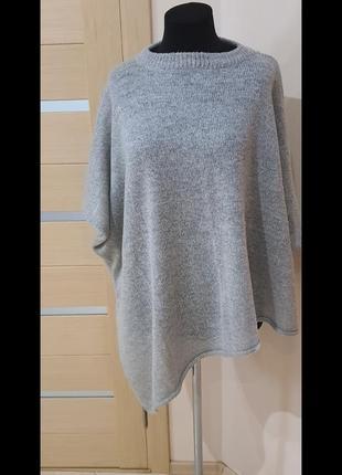 Свитер туника, нежно серого цвета  размер 46,48,50