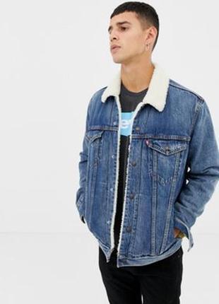 Синяя зимняя теплая джинсовая куртка с овчиной шерпа с мехом б...