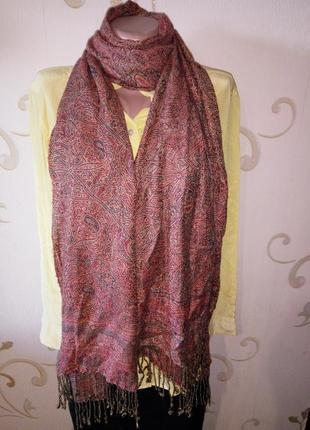 Красивый шарф шаль палантин . вискоза . 195х51