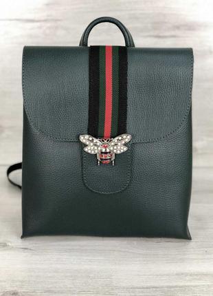 Стильный рюкзак из кожзама зеленого цвета