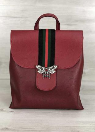 Стильный рюкзак из кожзама красного цвета