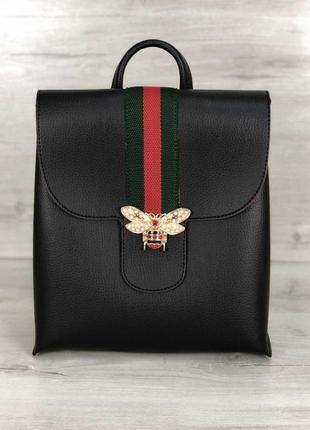 Стильный рюкзак из кожзама черного цвета