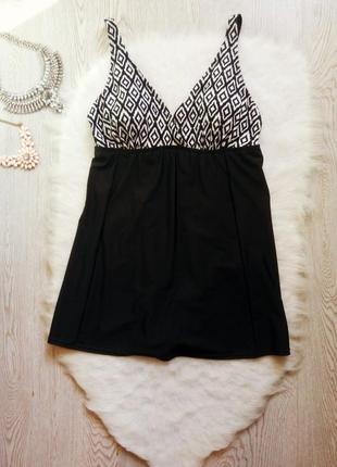 Черный сдельный цельный купальник платье с юбкой чашками утяжк...