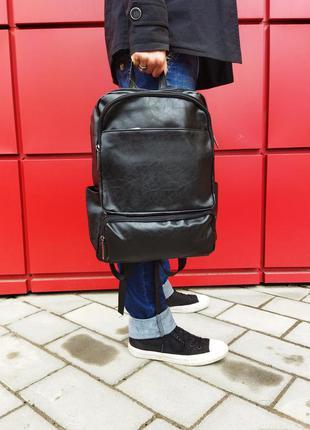 🔥🔥🔥 мужской черный кожаный рюкзак 2 отделения