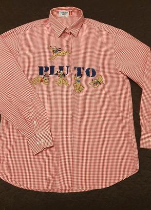 Винтажная рубашка emmanuel schvili, disney, pluto, унисекс