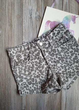 Шорты леопард джинс h&m 8-9л