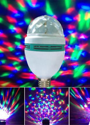 Диско лампа вращающаяся светодиодная, E27 LED RGB 3Вт +сетевой ад