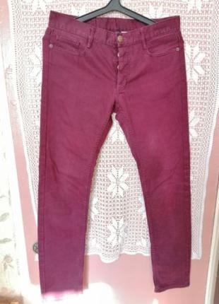 Мужские джинсы skinny H&M бордового цвета