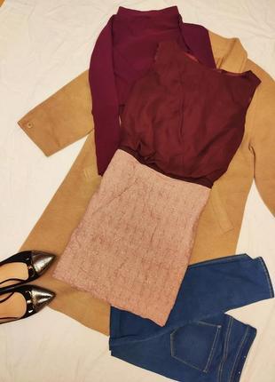 Платье сарафан бордо винное марсала блуза шифон юбка лён коттон