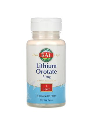 Литий оротат, 5 мг, KAL, 60 капсул