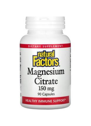 Natural Factors, Магний цитрат, 150 мг, 90 капсул