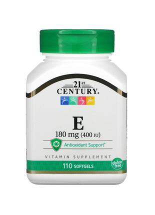 21st Century, Витамин Е, 180мг (400 МЕ), 110 мягких капсул