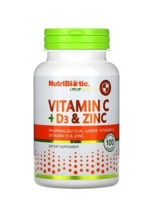 NutriBiotic, Immunity, витамин C + D3 и цинк, 100 капсул