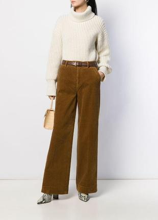 Paco rabanne оригинал коричневые велюровые прямые брюки р l